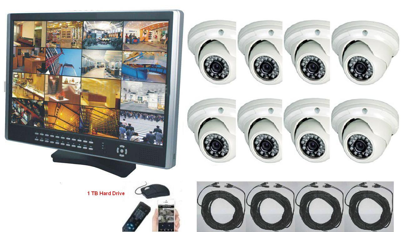 "16CH DVR 19"" LCD 8 x outdoor IR Cameras CCTV Security System"