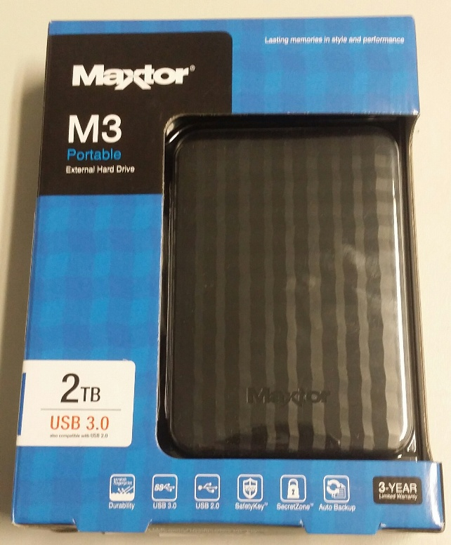 "Maxtor M3 2TB Portable External Hard Drive 2.5"" USB 3.0"