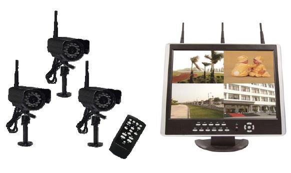 "3CH digital Wireless & 1CH wired H.264 15"" LCD-DVR CCTV System"