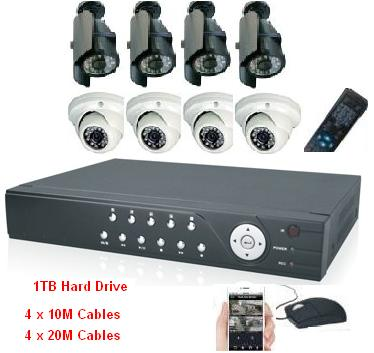 8CH Professional DVR with 8 high Resolution IR Cameras 1TB Kit