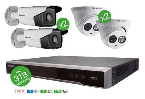 Hikvision IP Superbundle Kit 8 Channel NVR and 4 IP Cameras