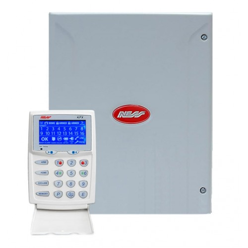 NESS SECURITY ALARM D8XD DELUXE PANEL WITH WHITE LCD KEYPAD