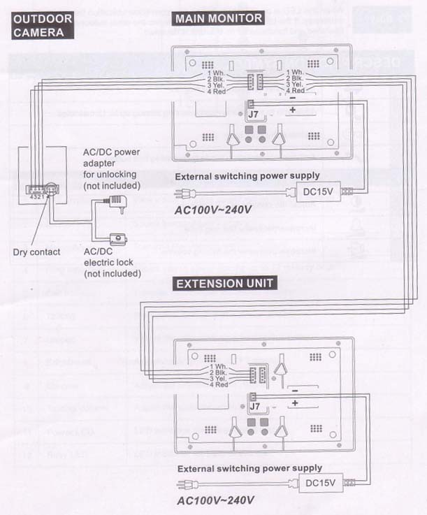 VIC1010 wiring diagram austar vic1010 7 video door phone bell intercom ir camera bell system intercom wiring diagram at reclaimingppi.co