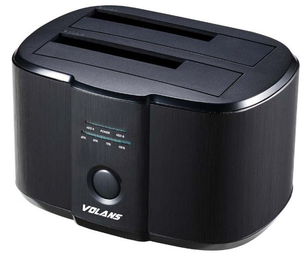 Volans Aluminium 2-Bay USB3.0 Docking Station with Clone VL-DS30